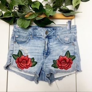 AEO Rose Embroidered High Rise Shortie Jean Shorts